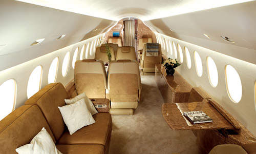 A typical Falcon 7X cabin configuration. The cabin can accommodate up to eight passengers.