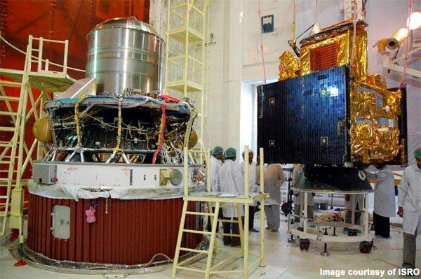 Oceansat-2 is a 960kg satellite launched into orbit 1,081s after lift-off at an altitude of 728km.