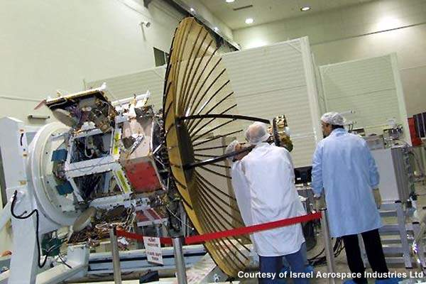 TecSAR satellite in its integration stage at IAI's MBT Space Division.