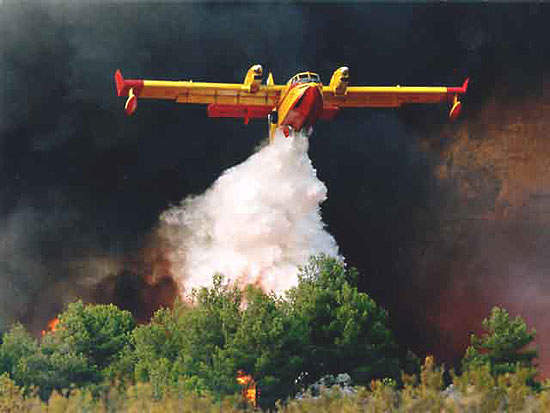 The Bombardier Canadair 415 amphibious aircraft.