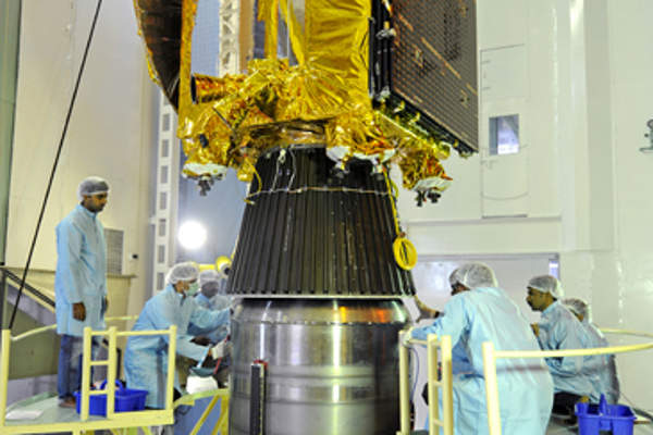 The spacecraft was integrated with PSLVC-25 rocket. Image courtesy of ISRO.
