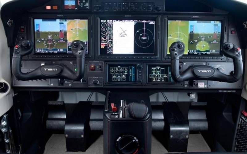 The aircraft is fitted with Garmin G3000 touchscreen glass flightdeck. Image courtesy of Daher.