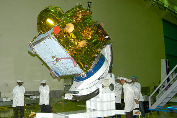 IRNSS-1A is powered by two solar arrays which generate about 1,660w of power. Image courtesy of ISRO.