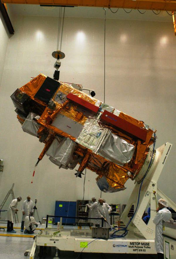 The Goddard instrument team supported Astrium in the integration of the MetOp-B payload module. Image courtesy of EUMETSAT.