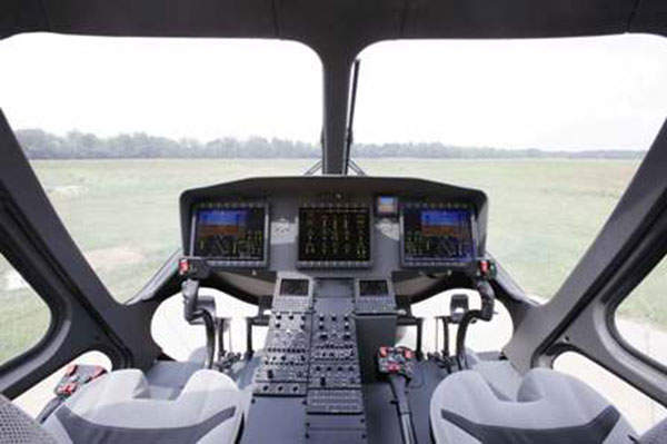 A cockpit view of the AgustaWestland AW169 helicopter.