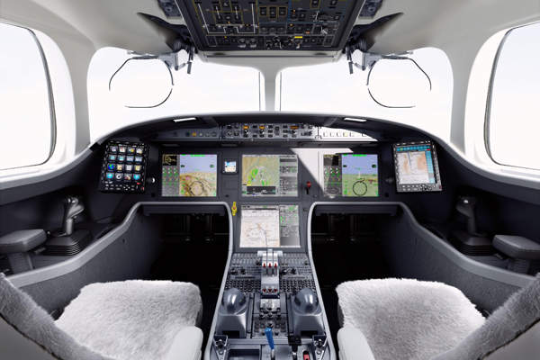 The aircraft is fitted with a third-generation EASy flight deck. Image courtesy of Dassault Aviation.