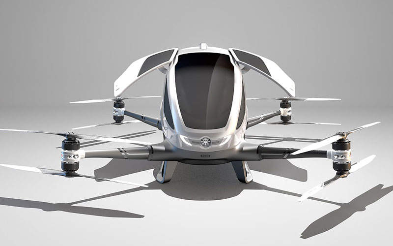 The drone features two gull-wing doors for entry and exit. Image: courtesy of EHang, Inc.
