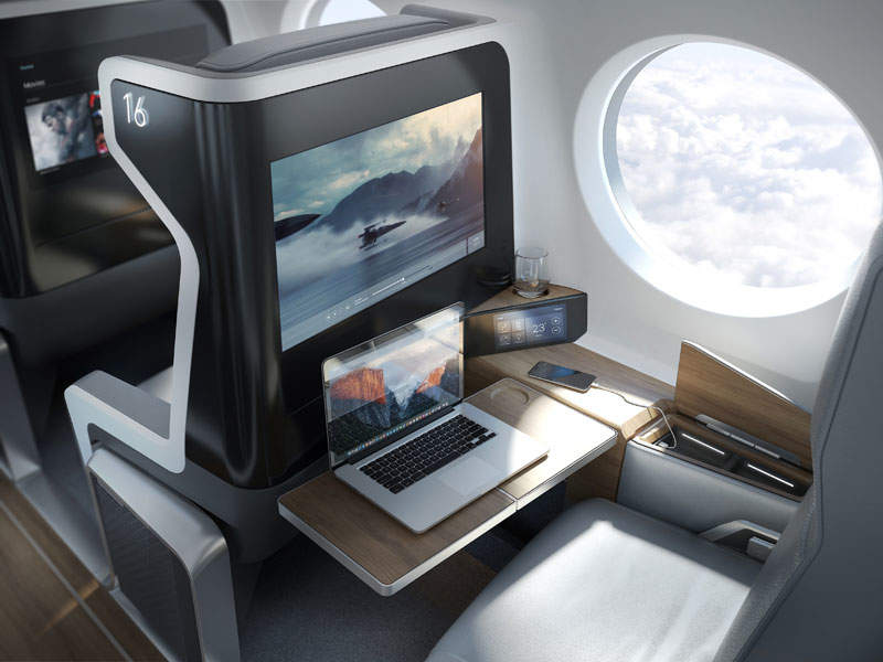 The cabin will feature one spacious seat on each side of the aisle. Image courtesy of Boom Technologies.