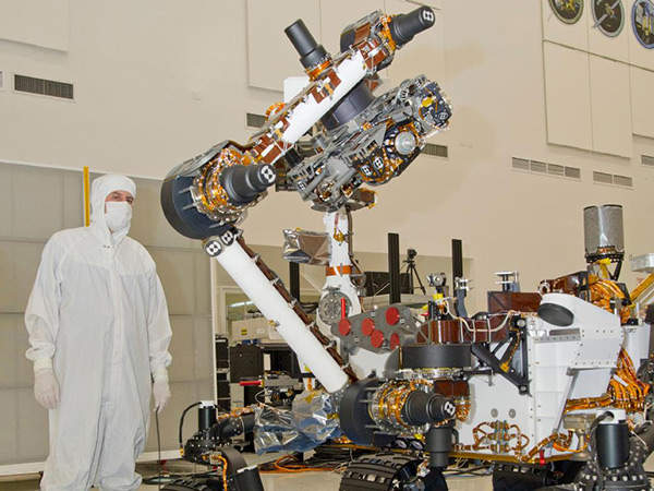 A close-up of the robotic arm of the Mars Science Laboratory rover Curiosity. Image courtesy of NASA/JPL-Caltech.