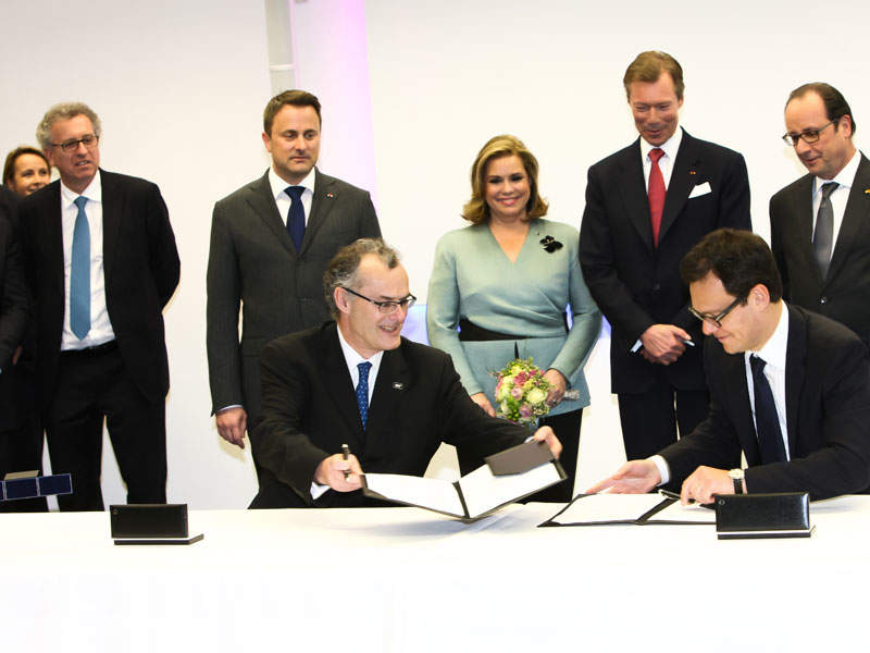 The SES-15 satellite launch contract was signed by SES and Arianespace in March 2015. Image courtesy of Arianespace.