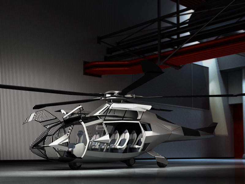 The cabin will accommodate eight passengers in two four-seat rows. Image courtesy of Bell Helicopter.