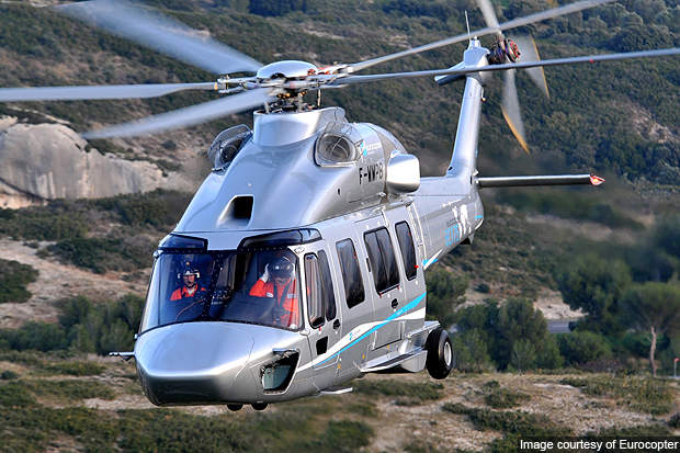 The helicopter has a cruise speed of 285km/h.