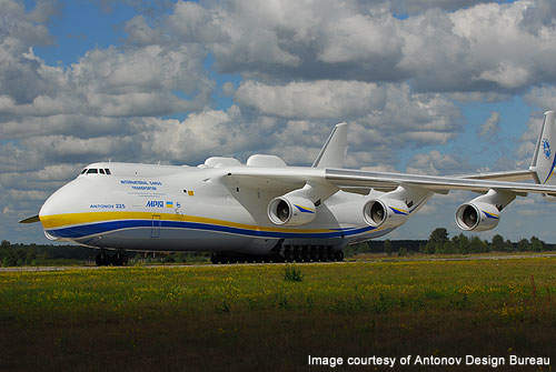 An-225 is powered by Six Ivchenko Progress Lotarev D-18T three shaft turbofan engines.