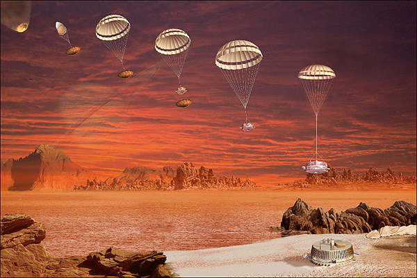 An artistic impression of the Huygens probe's descent on to Titan with the help of parachutes. Image courtesy of ESA - D. Ducros.