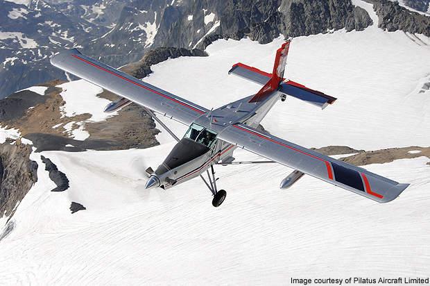 PC-6 flying over Switzerland.