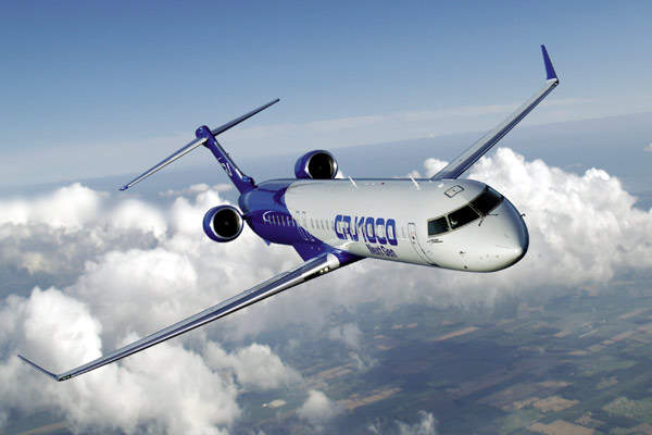 With 100 passengers, the CRJ1000 has a range of 2,760km and the CRJ1000ER version range is 3,130km.