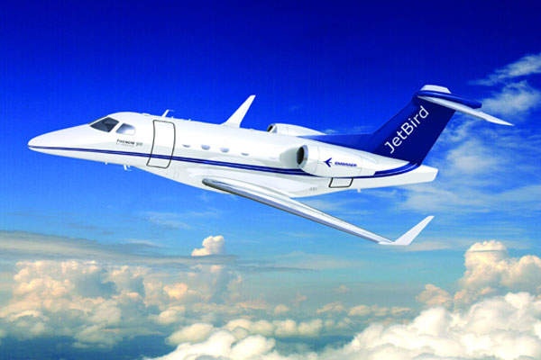 Phenom 300 in the livery of launch customer JetBird of Switzerland.