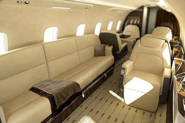 Optional seat layout of Challenger 350 with side-facing divan accommodates more passengers with the same comfort.
