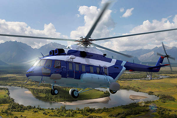 The Mi-171A2 has an X-shaped tail rotor. Image courtesy of Russian Helicopters.
