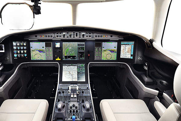 The aircraft features the third generation EASy flight deck developed by Dassault and Honeywell. Image courtesy of Dassault Aviation.