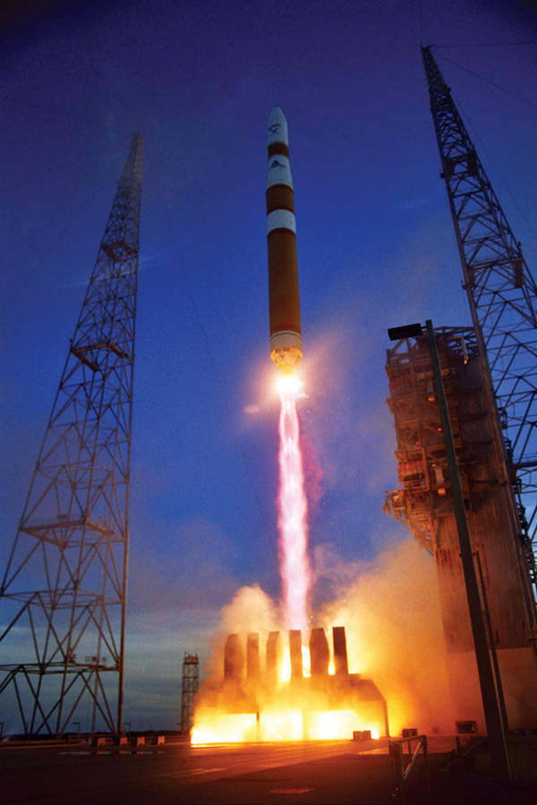 The Delta IV can be launched in two stages using Rocketdyne RS-68 and Pratt & Whitney RL-10B2 engines.