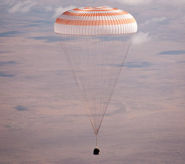 Re-entry module of the Soyuz that carries crew into earth's atmosphere.