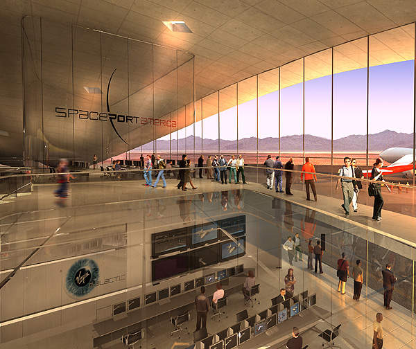 Conceptual image of the lobby at Spaceport America. Image courtesy of URS / Foster + Partners.