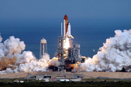 Launch of Atlantis, Mission STS-122 to deliver the European Space Agency (ESA) Columbus science laboratory to the International Space Station (ISS), in February 2008.
