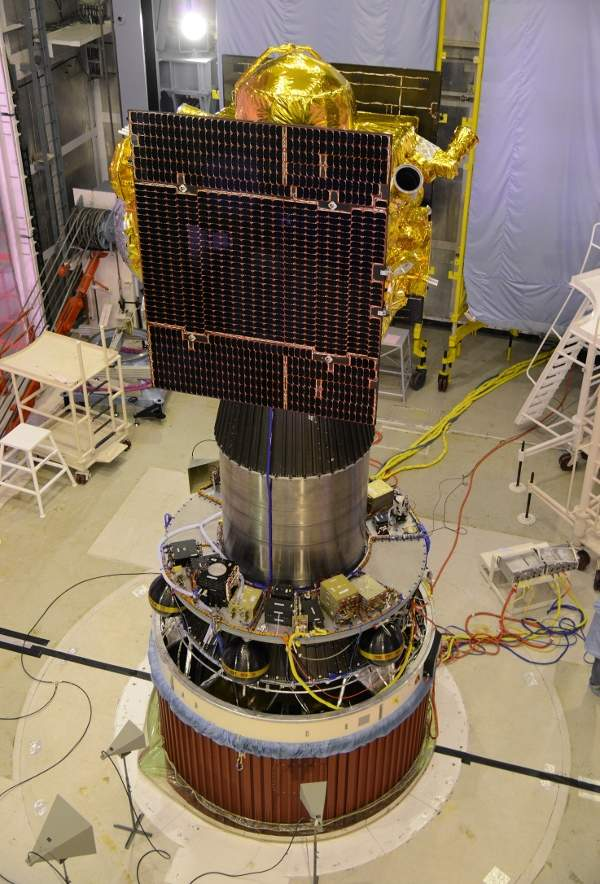 The satellite includes two solar power panels. Image courtesy of ISRO.