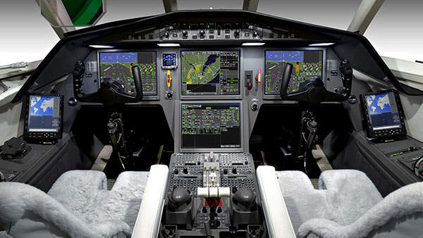 The Falcon 900LX is equipped with the EASy II flight deck.