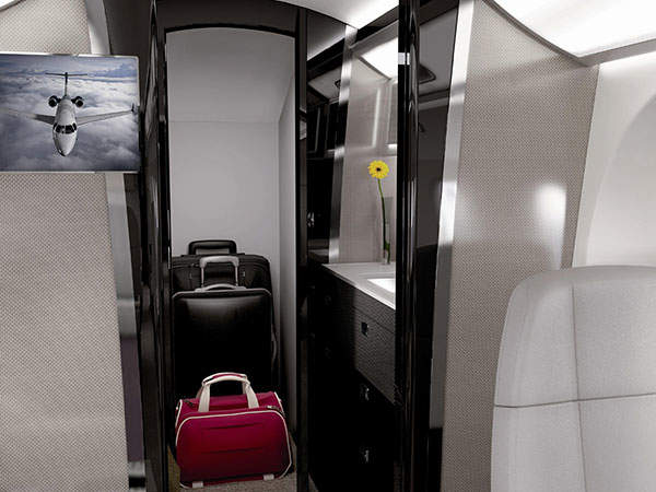 The aircraft features 40 cubic feet of space for internal baggage. Image courtesy of Embraer Executive Jets.
