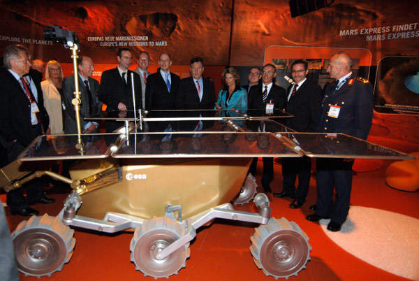 ExoMars prototype rover on display in the space pavilion at ILA. Image courtesy of ESA - M. Pedoussaut.