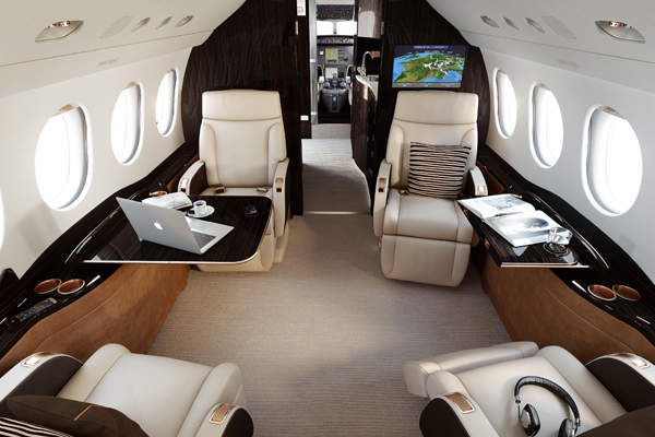 The cabin accommodates eight passengers and three crew members. Image courtesy of Dassault Aviation.