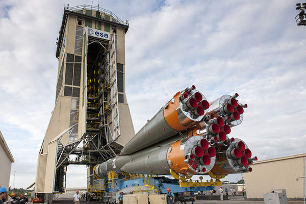 The three-stage Soyuz was transferred by rail in a horizontal position from the MIK assembly facility to the launch zone. Image courtesy of Arianespace.