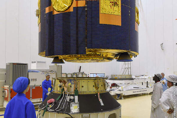 The integration of MSG-4 satellite was completed at Thales Alenia Space's Cannes plant on the French Riviera. Image: courtesy of EUMETSAT.