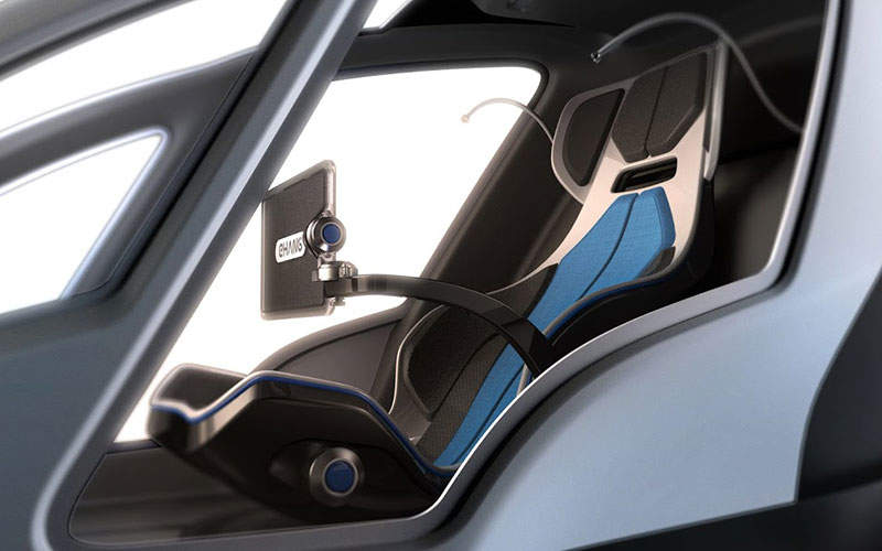 The cabin has a single seat with a 12in control pad attached to its arm. Image: courtesy of EHang, Inc.