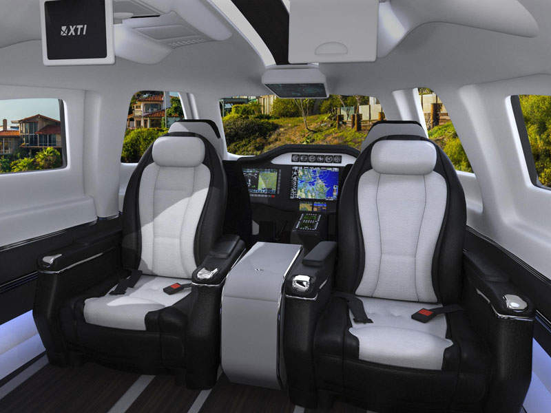 The cabin accommodates up to five passengers and one pilot. Image courtesy of XTI Aircraft Company.