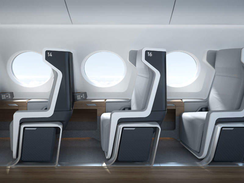 Each passenger will have a large window and a personal overhead bin. Image courtesy of Boom Technologies.