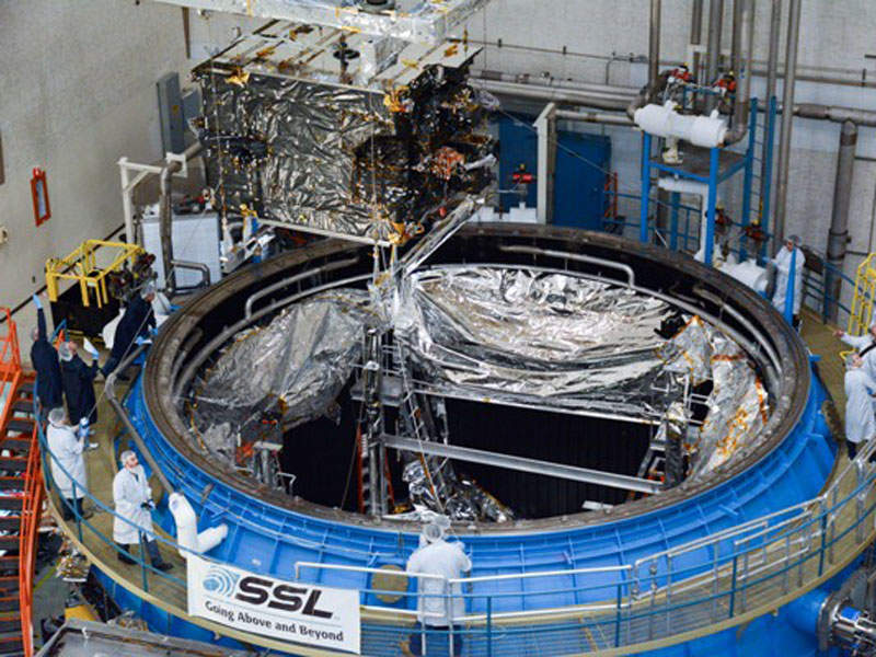 The satellite was manufactured by Space Systems/Loral (SSL) at Palo Alto manufacturing facility. Image courtesy of Bugaria Sat.