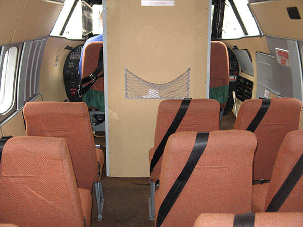A view of the seating arrangement in the L 410 aircraft.