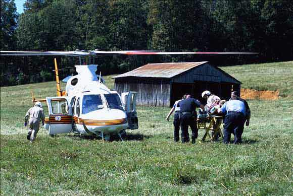 The Bell 430 EMS is available with skid or wheeled landing gear.