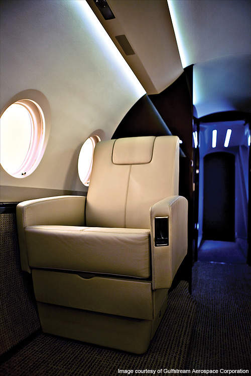 The G280 features 17-35% more floor area compared to conventional jets.
