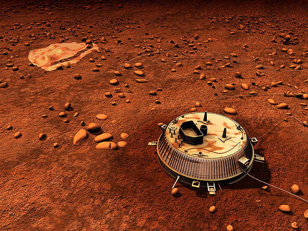 An artist's impression of the Huygens probe after its landing on Titan. Image courtesy of ESA - C. Carreau.