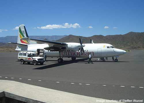 F-50 operating under Ethiopian Airlines parked at the Lalibela airport.