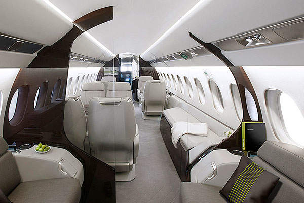 The cabin has provision for three distinct lounges. Image courtesy of Dassault Aviation.