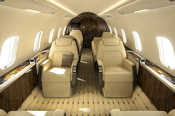 The constant flat floor design of the cabin can accommodate eight passengers with a double club seating layout.
