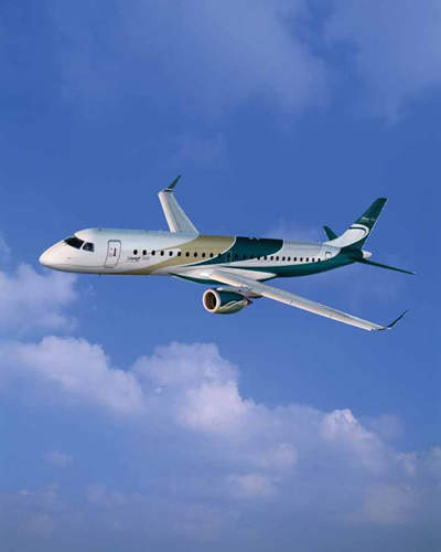 The Embraer Lineage 1000 large, long-range luxury business jet is based on the proven Embraer 190 long-range design.