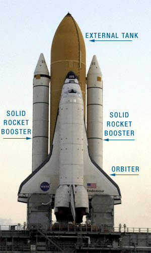 The NASA space shuttle with the Endeavour orbiter.