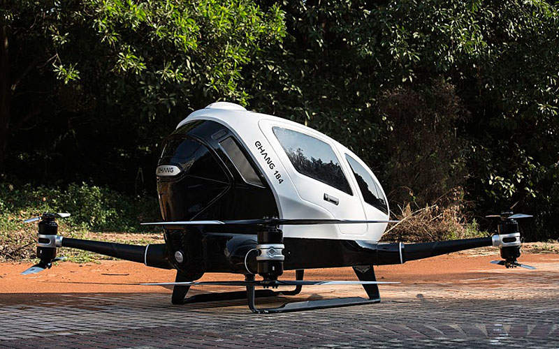 The aircraft can take-off and land vertically. Image: courtesy of EHang, Inc.