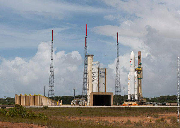 The satellite was launched from Europe's Guiana Space Centre located in Kourou, French Guiana. Image courtesy of SKY Perfect JSAT Corporation.